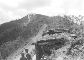 Company E's position on north rim of the Punchbowl, 9 August 1952